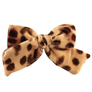 Velvet Hair Bow // Leopard