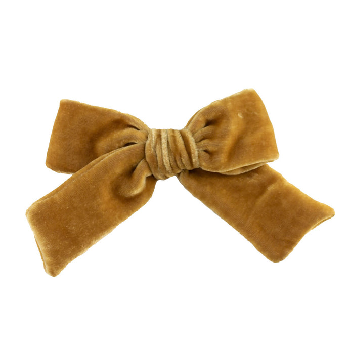 Velvet Hair Bow // Taupe