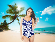 One-piece swimsuit Dominica in blue with white flowers