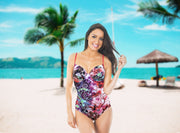 One-piece swimsuit Ibiza with flowers