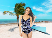 One-piece swimsuit Madeira with stronger support in black and blue