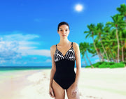 One-piece swimsuit Malta in black with white stripes