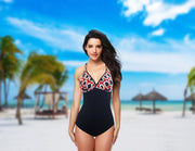 One-piece swimsuit Malta in black with red pattern cups