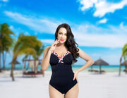 One-piece swimsuit Riva black with white and red decoration