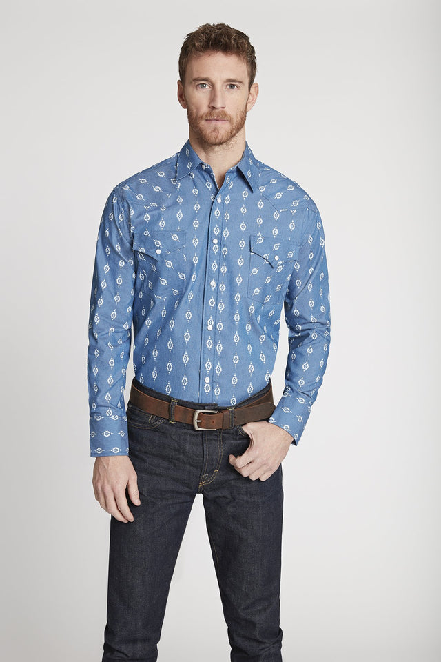 Black Label Premium Denim Aztec Western Shirt