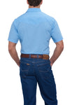 Ely Cattleman Short Sleeve Solid Western Shirt in Lt. Blue