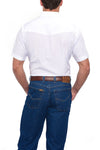 Ely Cattleman Short Sleeve Tonal Western Shirt in White