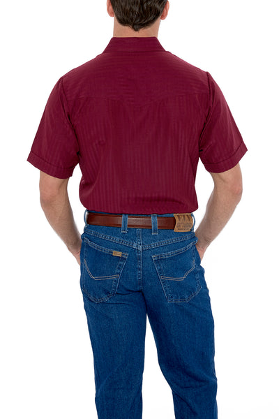Men's Short Sleeve Tone on Tone Western Shirt in Burgundy | Ely Cattleman