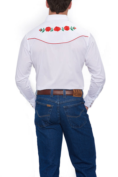 Ely Cattleman Long Sleeve Black Western Shirt with Red Rose Embroidery