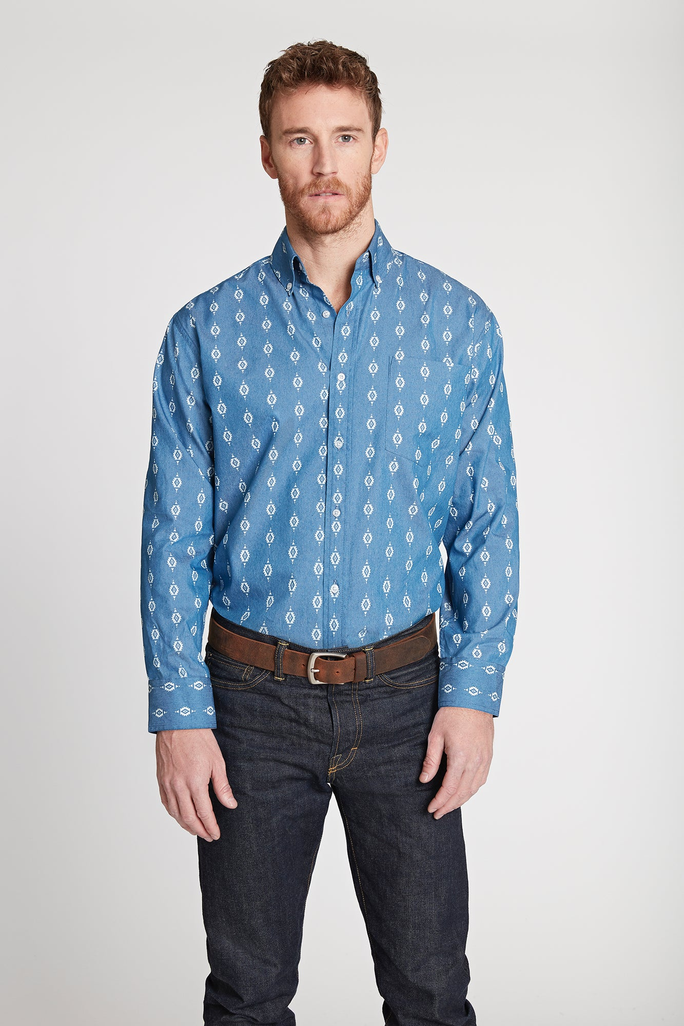Men's Black Label Premium Denim Aztec Print Button-Down | Ely Cattleman