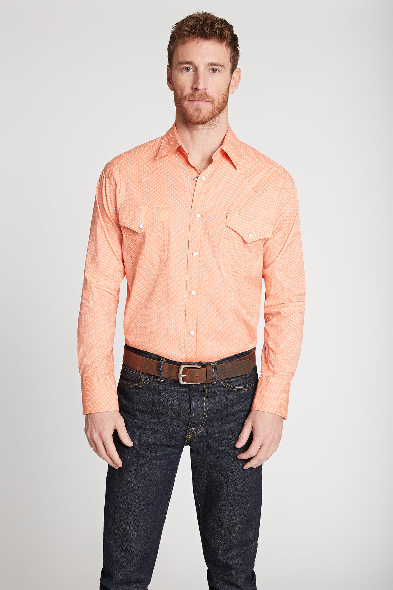 Men's Black Label Premium Cotton Poplin Western Shirt in Coral | Ely Cattleman