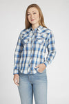 Long Sleeve Western Dobby Plaid Shirt in Blue Plaid | Ely Cattleman