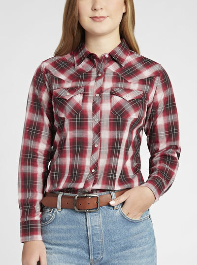 Long Sleeve Western Ombre Plaid Shirt in Cherry Plaid | Ely Cattleman