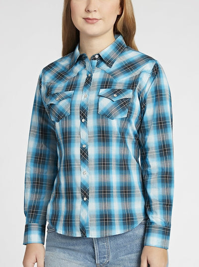 Long Sleeve Western Ombre Plaid Shirt in Turquoise Plaid | Ely Cattleman