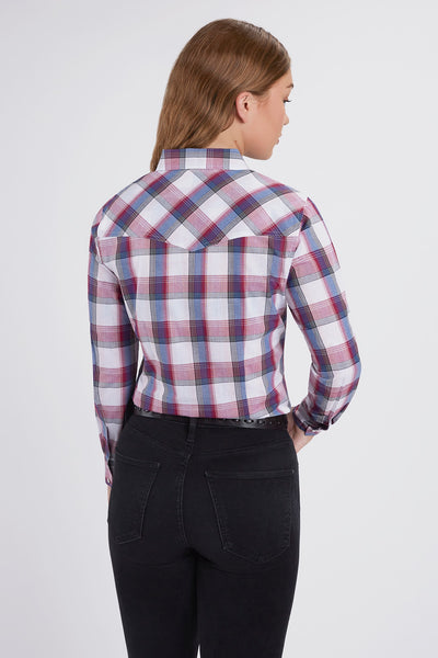 Long Sleeve Western Dobby Plaid Shirt in PinkPlaid | Ely Cattleman