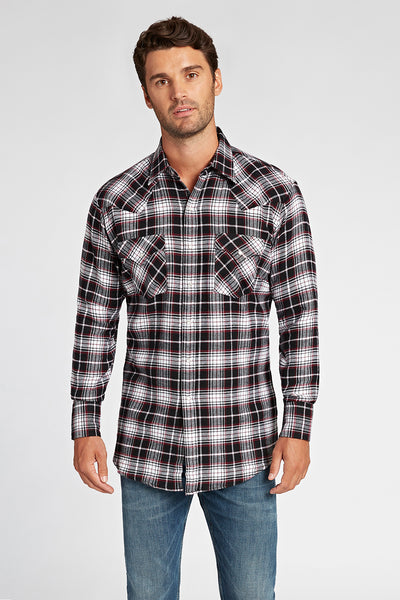 Long Sleeve Flannel Plaid Shirt in Burgundy Plaid | Ely Cattleman