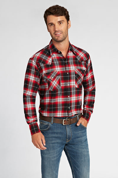 Long Sleeve Flannel Plaid Shirt in Red Plaid | Ely Cattleman