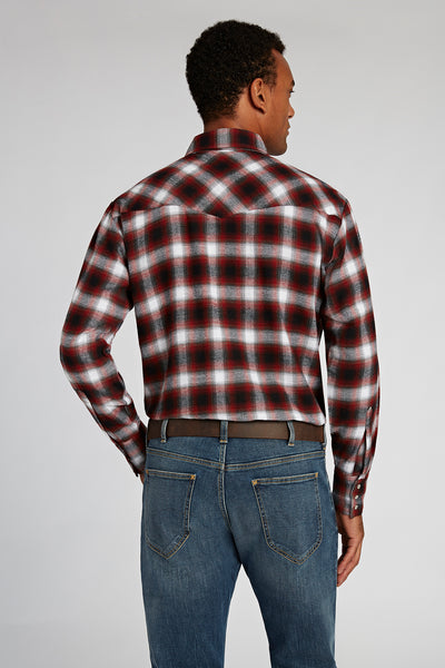 Long Sleeve Flannel Plaid Shirt in Rust Plaid | Ely Cattleman