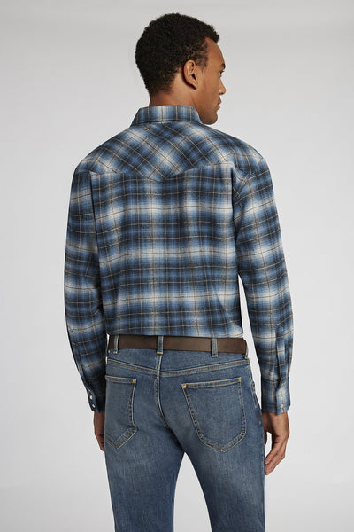 Long Sleeve Brawny Flannel Shirt in Navy Plaid | Ely Cattleman
