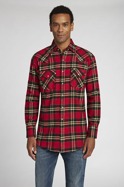 Long Sleeve Brawny Flannel Shirt in Red Plaid | Ely Cattleman