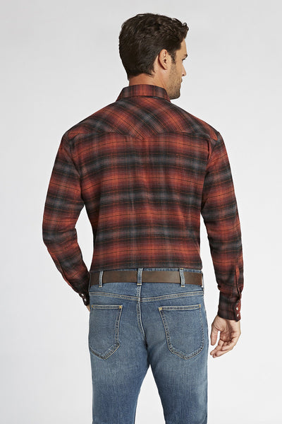 Long Sleeve Brawny Flannel Shirt in Rust Plaid | Ely Cattleman