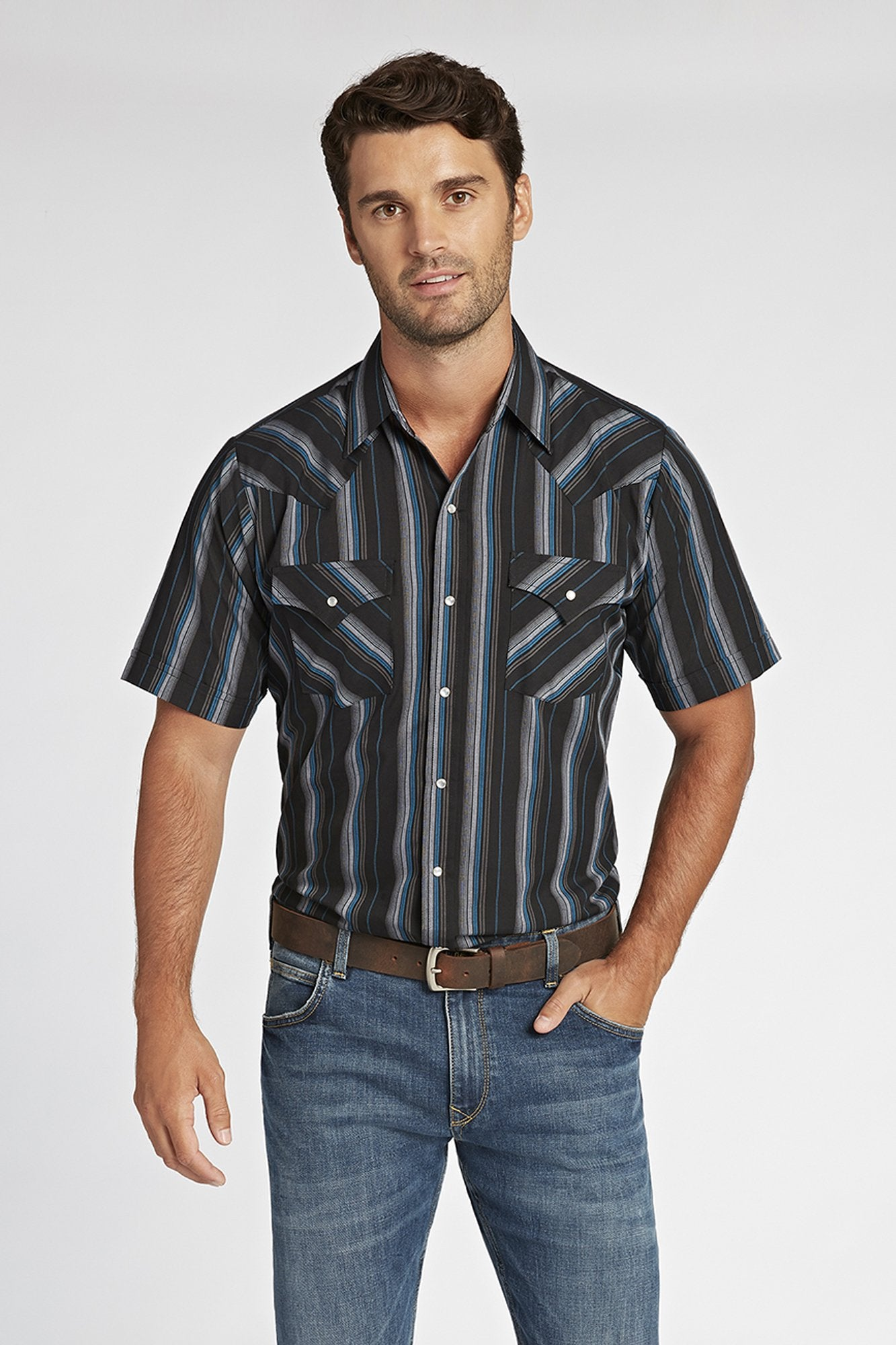 Short Sleeve Striped Shirt in Black Stripe | Ely Cattleman