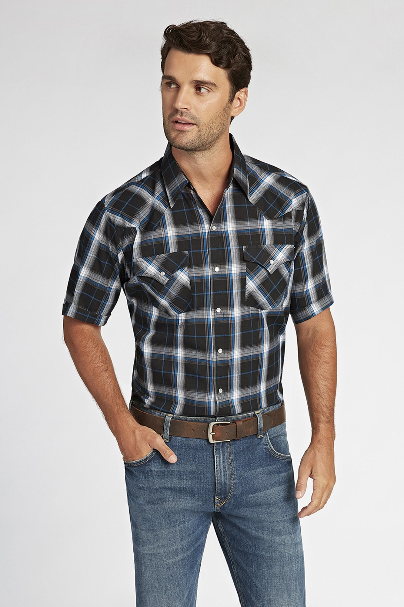 Short Sleeve Plaid Shirt in Black Plaid | Ely Cattleman