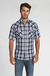 Short Sleeve Plaid Shirt in Blue Plaid | Ely Cattleman