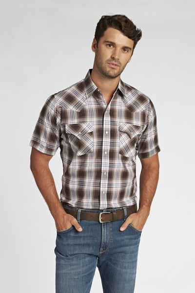 Short Sleeve Plaid Shirt in Brown Plaid | Ely Cattleman