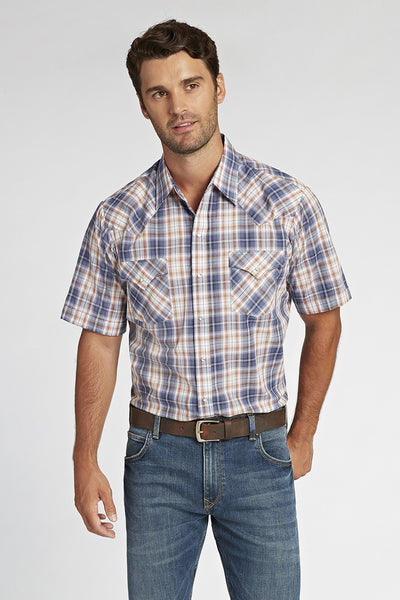 Short Sleeve Plaid Shirt in Grey Plaid | Ely Cattleman