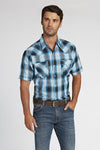 Short Sleeve Plaid Shirt in Turquoise Plaid | Ely Cattleman