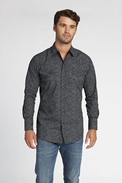 Long Sleeve Paisley Shirt in Charcoal Print | Ely Cattleman