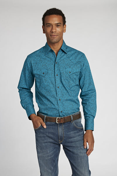 Long Sleeve Paisley Shirt in Teal Print | Ely Cattleman