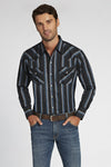 Long Sleeve Striped Shirt in Black Stripe | Ely Cattleman