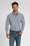 Long Sleeve Striped Shirt in Blue Stripe | Ely Cattleman