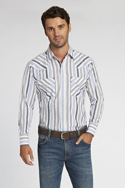 Long Sleeve Striped Shirt in White Stripe | Ely Cattleman