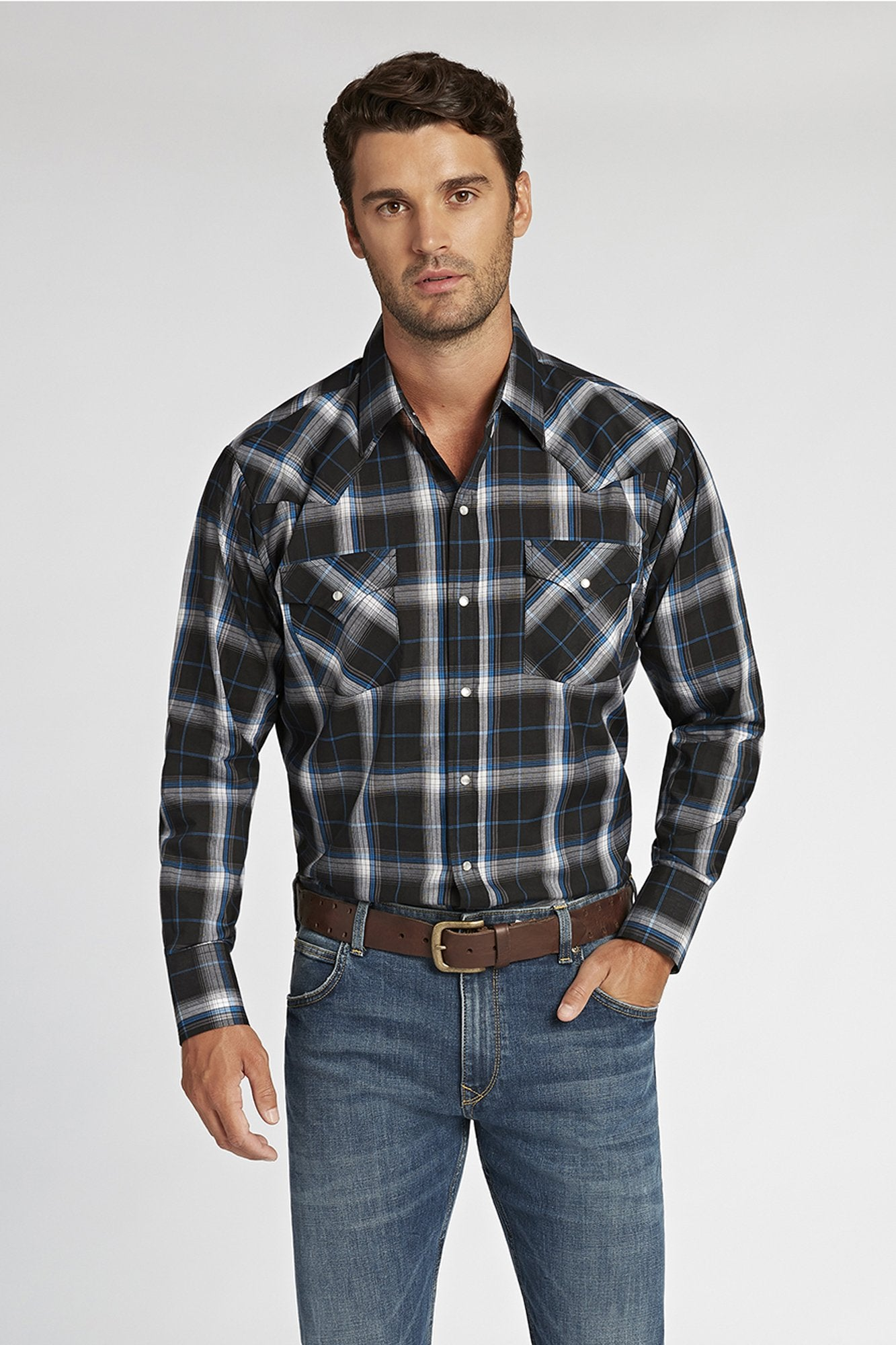 Long Sleeve Plaid Shirt in Black Plaid | Ely Cattleman