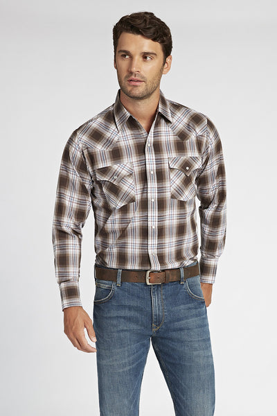 Long Sleeve Plaid Shirt in Brown Plaid | Ely Cattleman