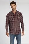 Long Sleeve Plaid Shirt in Burgundy Plaid | Ely Cattleman