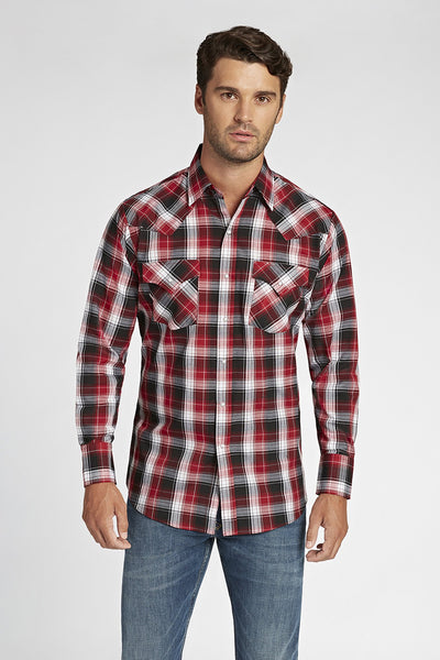 Long Sleeve Plaid Shirt in Red Plaid | Ely Cattleman