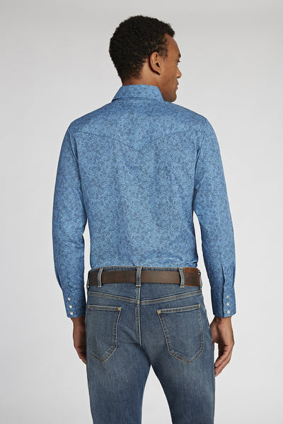 Long Sleeve Paisley Shirt in Blue Print | Ely Cattleman
