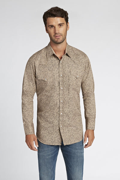 Long Sleeve Paisley Shirt in Tan Print | Ely Cattleman
