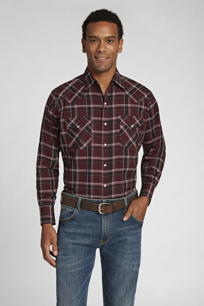 Long Sleeve Dobby Plaid Shirt in Burgundy Plaids | Ely Cattleman