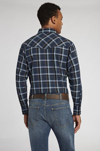 Long Sleeve Dobby Plaid Shirt in Navy Plaids | Ely Cattleman