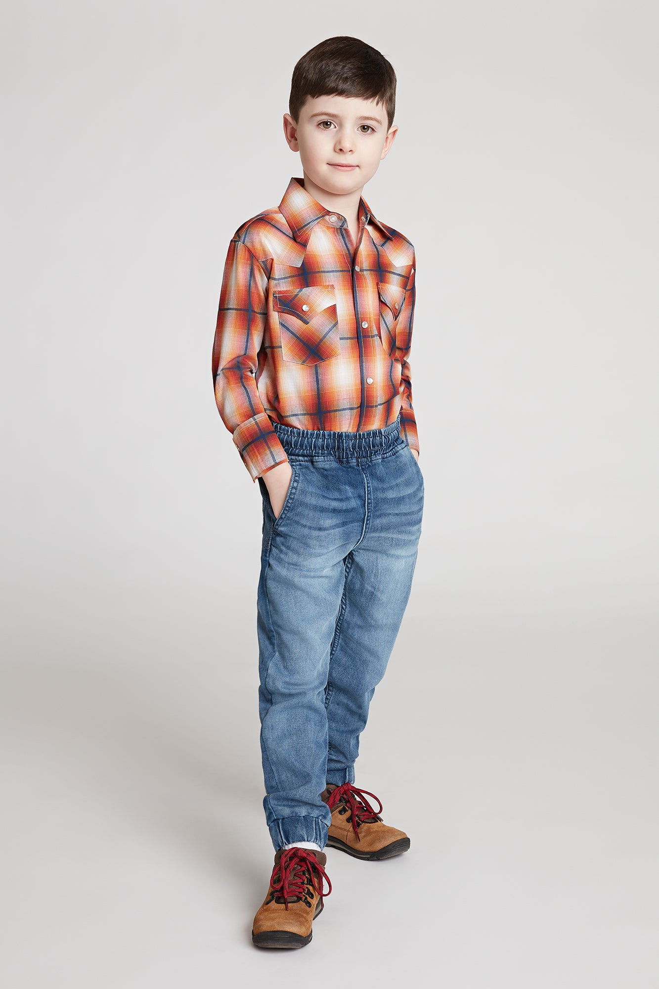 Boy's Long Sleeve Textured Dobby Plaid Shirt in Rust Plaid