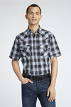 Short Sleeve Plaid Shirt in Black Plaid