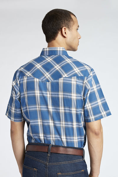 Short Sleeve Plaid Shirt in Blue Plaid