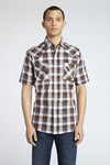 Short Sleeve Plaid Shirt in Brown Plaid