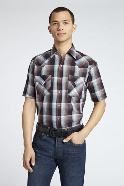 Short Sleeve Plaid Shirt in Burgundy Plaid