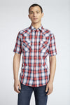 Short Sleeve Plaid Shirt in Red Plaid